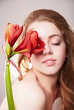 Sensual beautiful girl with flower. Sensual beautiful teenager girl with flower.beauty spring young model Royalty Free Stock Photography