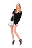 Sensual beautiful girl with the purse Stock Images