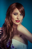 Sensual.Beautiful sexy woman with elegant long red shiny hair , Royalty Free Stock Photography