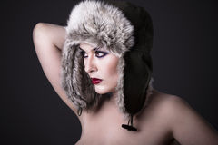 Sensual Beautiful Winter Woman Royalty Free Stock Photo