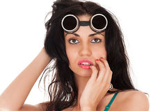 Sensual beautiful woman in goggles Stock Image