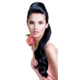 Sensual beautiful woman with pink rose. Stock Images