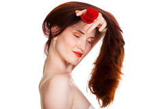 Sensual beautiful woman with red rose. Portrait of sensual beautiful woman with red rose on white background Stock Photography
