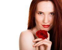 Sensual beautiful woman with red rose. Portrait of sensual beautiful woman with red rose on white background Royalty Free Stock Image