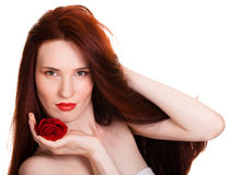 Sensual beautiful woman with red rose. Portrait of sensual beautiful woman with red rose on white background Royalty Free Stock Photos
