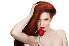 Sensual beautiful woman with red rose Royalty Free Stock Photo