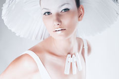 Sensual beautiful woman in white hat royalty free stock photography