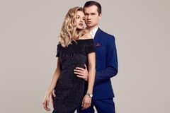Sensual Beautiful Young Couple Dressed In Formal Clothes Royalty Free Stock Images