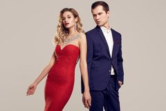Sensual Beautiful Young Couple Dressed In Formal Clothes Stock Photos