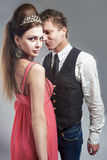 Sensual Beauty Couple Standing Together and Flirting. Posing Aga Stock Images