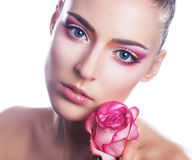 Sensual beauty girl face with flower Royalty Free Stock Photo