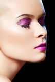 Sensual beauty model with shiny glitter make-up stock image