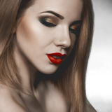 Sensual beauty woman looking down Royalty Free Stock Images