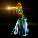 Sensual belly dancer. Neon fractal artwork, isolated on black Stock Images