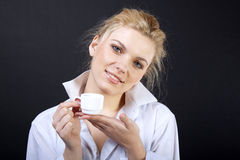 Sensual blond with cup Stock Photography