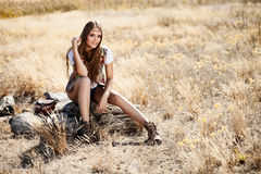 Sensual blond girl in field Royalty Free Stock Photo