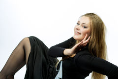 Sensual Blond Girl Sitting With Cute Smile Royalty Free Stock Image