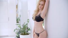 Sensual Blond Girl Walking in Lingerie stock video