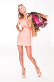 Sensual blond shopper. Stock Images