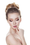 Sensual Blond Woman with Bridal Hairstyle Royalty Free Stock Image