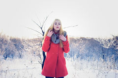 Sensual blond woman. Cold tinting Stock Images