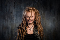 Sensual blond woman with dreadlocks Royalty Free Stock Photos
