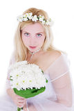 Sensual blonde bride in wreath and bouquet Royalty Free Stock Photos