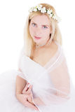 Sensual blonde bride in wreath Royalty Free Stock Photography