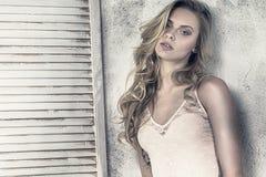 Sensual blonde caucasian girl posing. Stock Photos