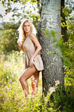 Sensual blonde female on field in sexy short dress Stock Photography