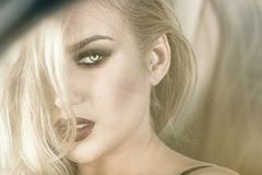 Sensual blonde girl in glamour makeup. Royalty Free Stock Photo
