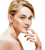 Sensual blonde girl on white background. Beauty. Sensual blonde girl on white background. Youth and skin care concept royalty free stock photos