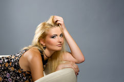 Sensual blonde with Professional makeup Stock Images