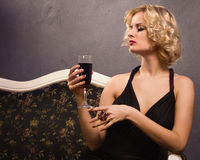 Sensual blonde in the vintage interior Royalty Free Stock Photos