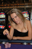 Blonde Woman with Game Chips Royalty Free Stock Photo