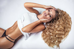 Sensual blonde woman posing. Stock Photos
