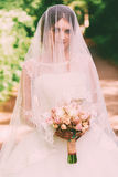Sensual bride covered with veil Royalty Free Stock Image