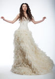 Sensual Bride In Lush White Nuptial Dress Stock Images