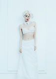Sensual bride in white interior. Underwear Royalty Free Stock Images