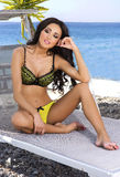 Sensual brunette beauty posing in underwear. Stock Photo