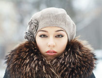 Sensual brunette in cold winter Royalty Free Stock Image