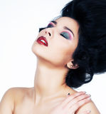 Sensual brunette dreaming - bright retro make up Royalty Free Stock Photo