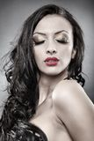 Sensual brunette with eyes closed Stock Image