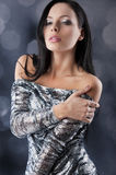 Sensual brunette with fashion silver dress Royalty Free Stock Image