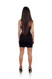 Sensual brunette girl back with black dress Royalty Free Stock Image