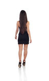 Sensual brunette girl back withblack dress Royalty Free Stock Images