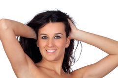 Sensual brunette girl showing her shoulders Royalty Free Stock Photography