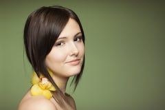 Sensual brunette on grenn background Stock Images