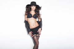 Sensual brunette lady posing in lingerie Stock Photos
