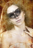 Sensual brunette with venetian mask, fantasy and romantic concep Royalty Free Stock Photography
